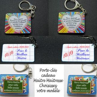 Porte-clés école cadeau pour maître et maîtresse fin d'année scolaire avec agda photo