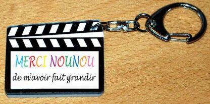 Porte-clés cadeau nounou clap cinéma avec agda photo