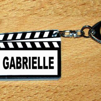 Porte-clés prénom personnalisé clap cinéma avec agda photo