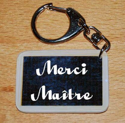 Porte-clés merci maître à offrir fin année scolaire avec agda photo
