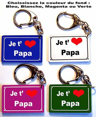 Porte-cles plaque de rue je t'aime papa pour fête des pères avec agda photo