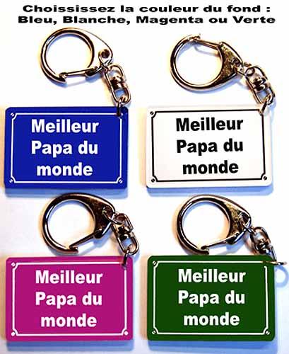 Porte-clés fete des pères plaque de rue Meilleur papa du monde avec agda photo