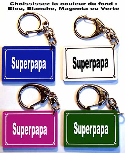 Porte-clés pour offrir à papa pour fete des père forme plaque de rue avec agda photo