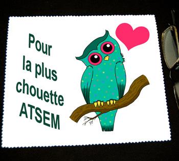 Chifonnette essuie lunettes cadeau Atsem fin année scolaire avec agda photo