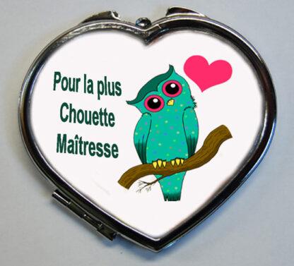Miroir de poche cadeau maitresse chouette coeur avec agda photo