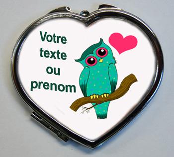 Miroir de poche cadeau à personnaliser avec le texte de votre choix chouette coeur avec agda photo