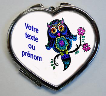 Miroir de poche cadeau à personnaliser avec le texte de votre choix chouette avec agda photo